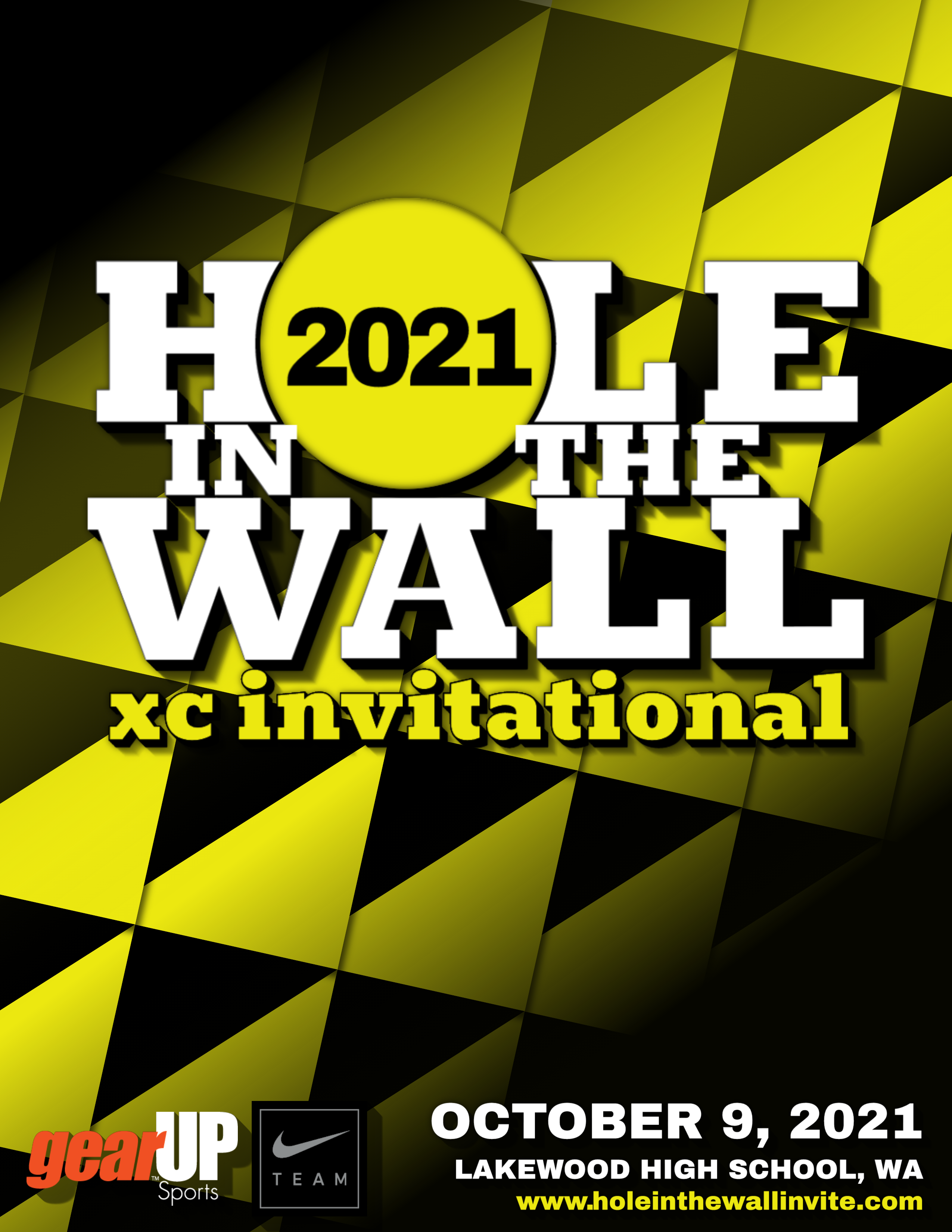 2021 NIKE Hole In The Wall XC Invitational flier with meet logo over repeating triangle shaped background with sponsor logos and race information at the bottom
